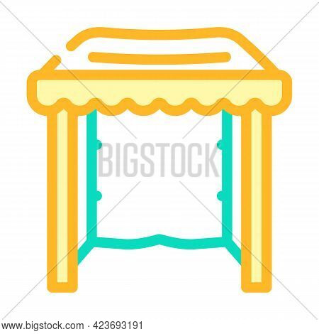 Tent From Plastic Material Color Icon Vector. Tent From Plastic Material Sign. Isolated Symbol Illus