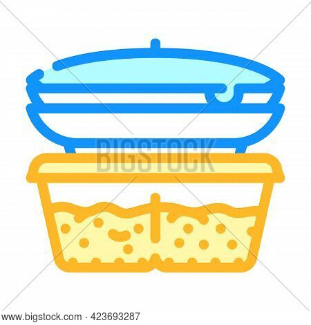 Cooked Food Set Canteen Color Icon Vector. Cooked Food Set Canteen Sign. Isolated Symbol Illustratio