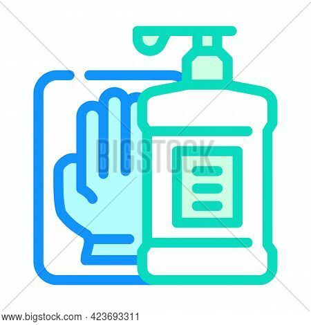 Antiseptic And Gloves In Canteen Color Icon Vector. Antiseptic And Gloves In Canteen Sign. Isolated