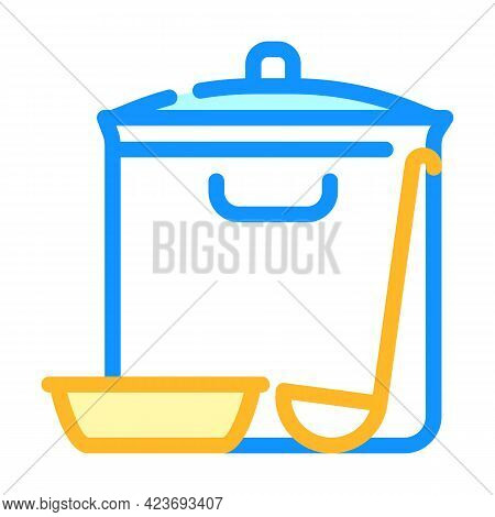 Soup Pan Canteen Kitchen Utensil Color Icon Vector. Soup Pan Canteen Kitchen Utensil Sign. Isolated