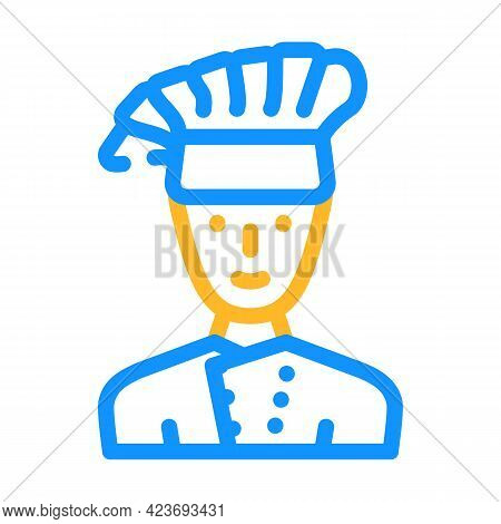 Cook Chef Canteen Worker Color Icon Vector. Cook Chef Canteen Worker Sign. Isolated Symbol Illustrat