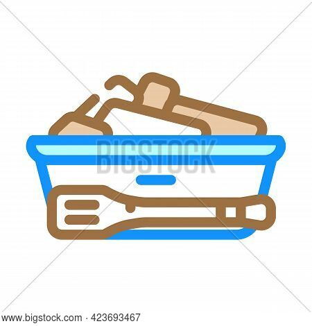 Bread Basket With Tongs In Canteen Color Icon Vector. Bread Basket With Tongs In Canteen Sign. Isola
