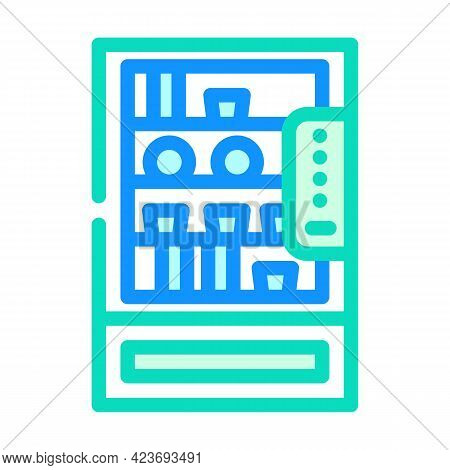 Vending Machine With Food And Drinks In Canteen Color Icon Vector. Vending Machine With Food And Dri