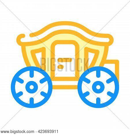 Coach Transport Wedding Color Icon Vector. Coach Transport Wedding Sign. Isolated Symbol Illustratio