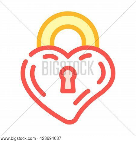 Lock In Heart Form Color Icon Vector. Lock In Heart Form Sign. Isolated Symbol Illustration