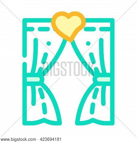 Arch For Lovers In Wedding Day Color Icon Vector. Arch For Lovers In Wedding Day Sign. Isolated Symb
