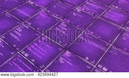 Bright Computer Background With Program Codes. Animation. Background With Computer Codes In Tabular