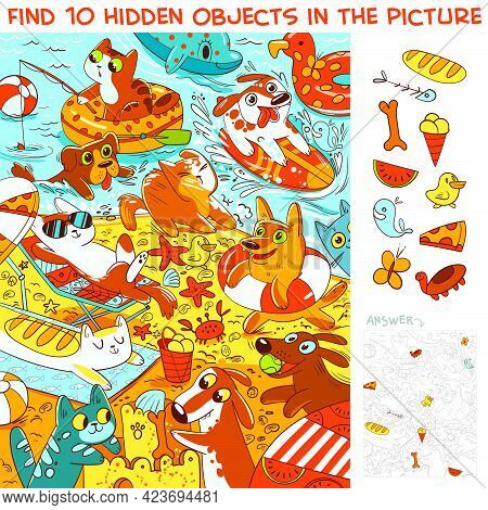 Pets On The Beach. Find 10 Hidden Objects In The Picture. Puzzle Hidden Items. Funny Cartoon Charact