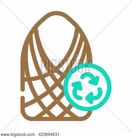 String Bag Zero Waste Color Icon Vector. String Bag Zero Waste Sign. Isolated Symbol Illustration