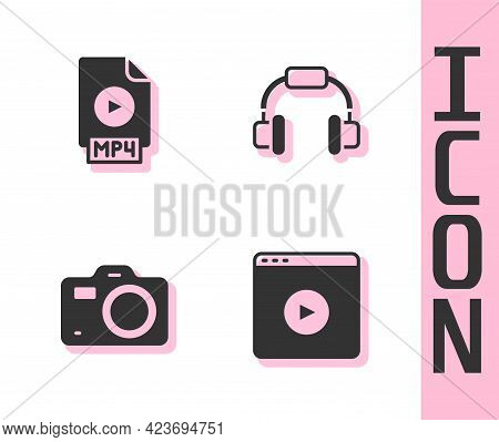 Set Online Play Video, Mp4 File Document, Photo Camera And Headphones Icon. Vector