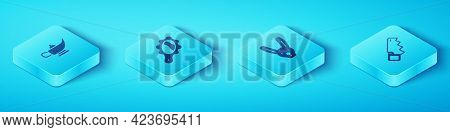 Set Isometric Magic Lamp Or Aladdin, Hand Mirror, Hand Saw And Rabbit With Ears Icon. Vector