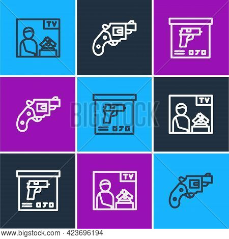 Set Line Advertising Weapon, Military Ammunition Box And Small Gun Revolver Icon. Vector
