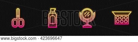 Set Line Round Makeup Mirror, Scissors, Spray Can For Hairspray And Makeup Powder With. Glowing Neon