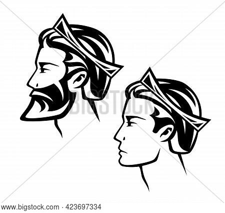 Fairy Tale Bearded King Or Prince Wearing Royal Crown - Noble Man Black And White Vector Head Portra