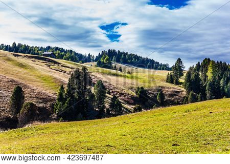 Picturesque grassy hills. Alpe di Siusi is plateau in the Dolomites, Italy. Sunny day for hiking and photographing. The concept of walking, ecological and photo tourism