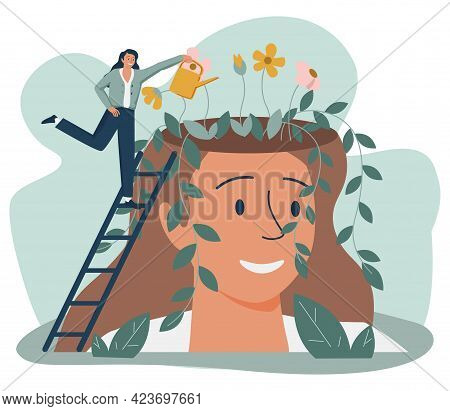 Tiny People And Beautiful Flower Garden Inside Female Head Isolated Flat Vector Illustration. Cartoo