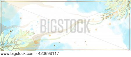 Luxurious Golden Wallpaper. White Background And Blue Watercolor Stains. Golden Olive Leaves With A