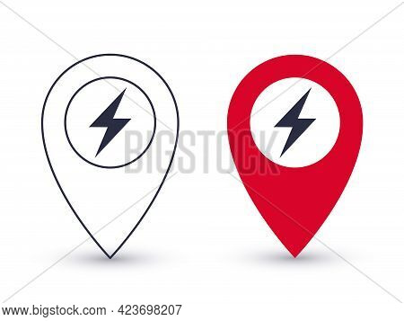 Pointer Icons. Charging Point For Electric Vehicles. Geolocation Pointers Concept. Vector Illustrati