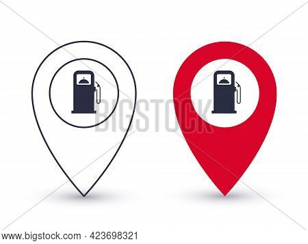 Pointer Icons. Gas Station Point. Geolocation Pointers Concept. Vector Illustration