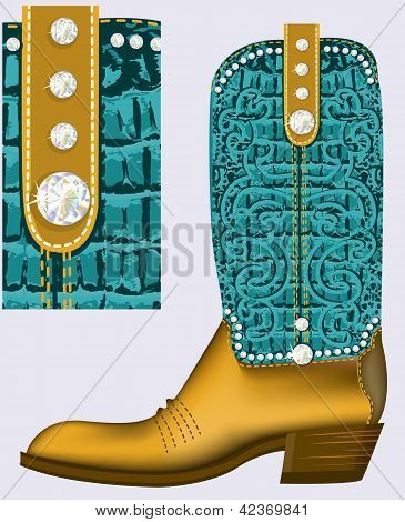 cowboy boot.Vector Luxury shoe with diamonds and decoration poster