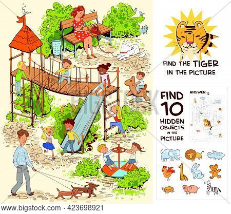 Children In The Playground. Find The Tiger In The Picture. Find 10 Hidden Objects In The Picture. Pu