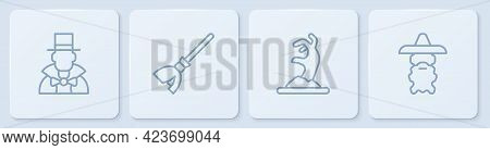 Set Line Magician, Zombie Hand, Witches Broom And Wizard Warlock. White Square Button. Vector