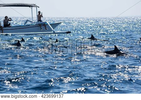Bali, Indonesia - 16 September 2018: Tourists Looking For Dolphins From Boats At Lovina Beach Of Bal