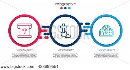 Set Line Flag With Christian Cross, Christian And Stained Glass. Business Infographic Template. Vect