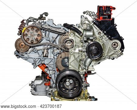 Partial Section Of An Internal Combustion Engine Of A Modern Car At The Stand. Isolated On White Bac