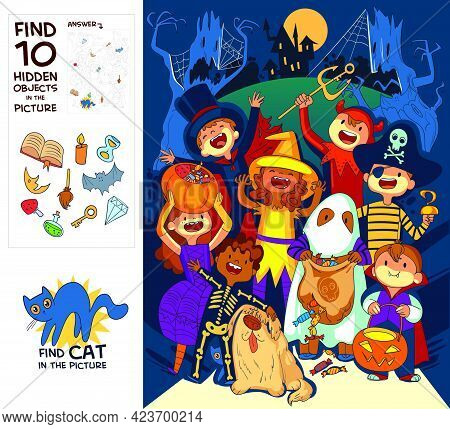 Children In Halloween Costumes. Trick Or Treat. Find Where Cat Is Hiding. Find 10 Hidden Objects In