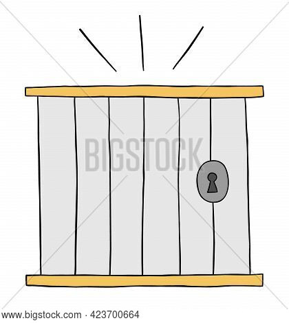 Cartoon Vector Illustration Of Prison. Colored And Black Outlines.
