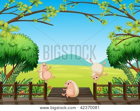 Illustration of wild animals playing at the bridge