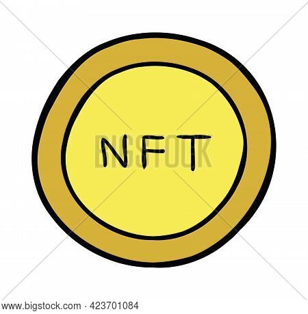 Cartoon Vector Illustration Of Nft Coin. Colored And Black Outlines.