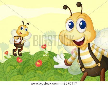 Illustration of honeybees in the garden