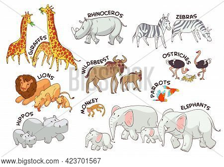 Animals Of The African Savannah. Set. Funny Cartoon Character. Vector Illustration. Isolated On Whit