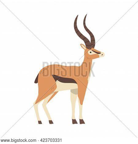 Antelope African Animal, Side View Of Wild Herbivore Jungle Animal Cartoon Vector Illustration