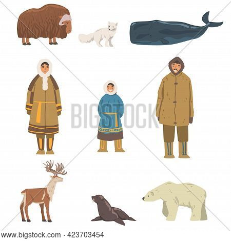 Polar Inhabitants And Animals Set, Arctic Mammals And People In Authentic Traditional Outfit Cartoon