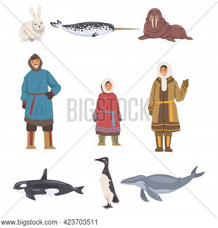 Polar Inhabitants And Animals Set, Arctic Sea Animals And People Wearing Eskimos Traditional Clothes