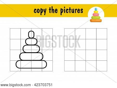 Copy The Picture Using Grid Lines, The Simple Educational Game For Preschool Children Education With