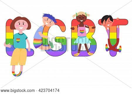 Lgbt Rainbow Pride Festival Day Characters. Lgbt Letters With Children. Childrens Inscription. Happy