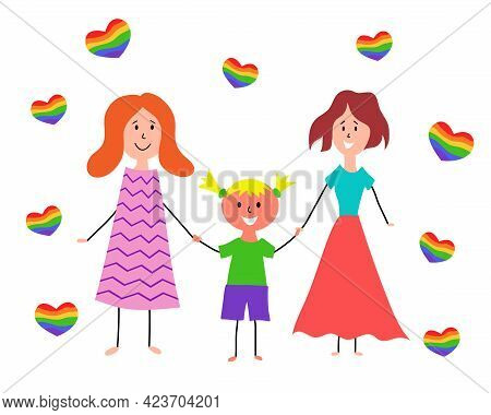 Lgbt Family. Children's Drawing. Two Happy Lesbian Women With Girl. Vector Hand Drawing Illustration