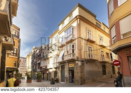 Cartagena, Mercia, Spain- November 17, 2017: Streets And Buildings In The Historic Center Of Cartage