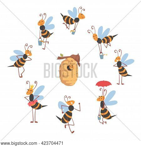 Cute Bees Flying Around The Hive, Cute Happy Funny Working Bee Characters Cartoon Vector Illustratio