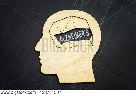 Head Shape With Empty Space And Alzheimer Disease Word.