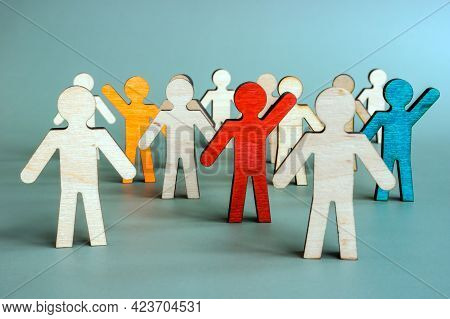 Uniqueness And Difference For Talent Management. Unique Figurines In The Crowd.