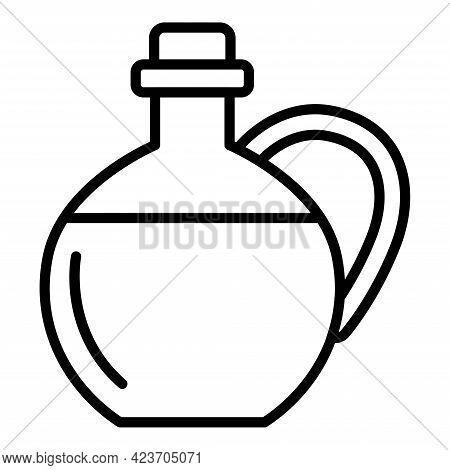 Bottle Of Massage Oil. Olive Oil For Massage Line Icon, Vector Illustration