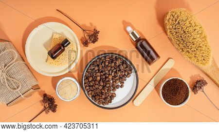 Homemade Cosmetics With Coffee Scrub And Oil. Set Of Home Spa Eco-friendly Cosmetic Products. Dry Br
