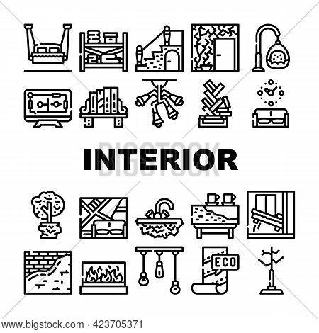 Interior Style Design Collection Icons Set Vector. Hanging Bed And Chair, Tree Plant In House And So