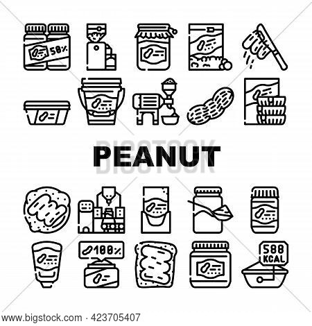 Peanut Butter Food Collection Icons Set Vector. Peanut Butter On Bread And Knife, Nut Homemade Natur
