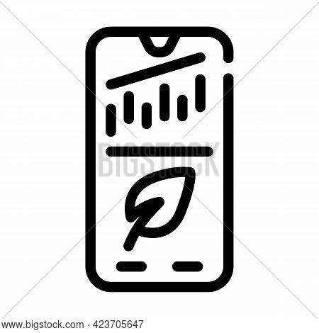 Phone Application For Monitoring Chia Cryptocurrency Rate Line Icon Vector. Phone Application For Mo